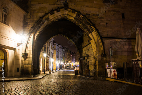 Mysterious Prague with lanterns in at night Poster