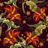 Vintage flowers lily embroidery. Classical embroidery lilies, template fashionable clothes, t-shirt design, print vector - 184993911