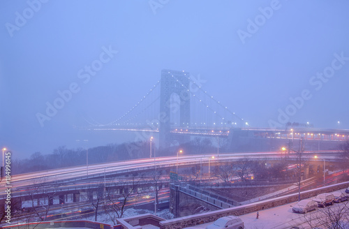 Fotobehang Nacht snelweg George Washington Bridge in Snow Mist in lilac