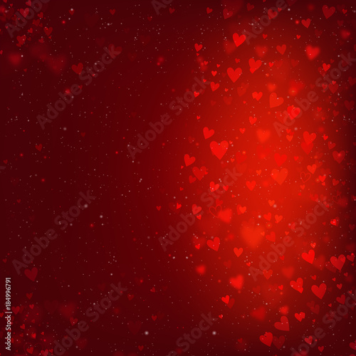 Valentines Day background with hearts and bokeh lights. Red love background with hearts and sparkle lights. - 184996791