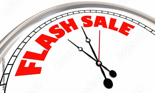 Flash Sale Clock Limited Time Special Offer Deal 3d Illustration