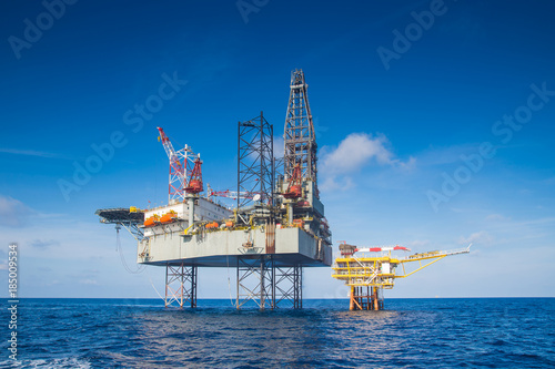 Offshore oil and gas drilling rig in the gulf of Thailand while