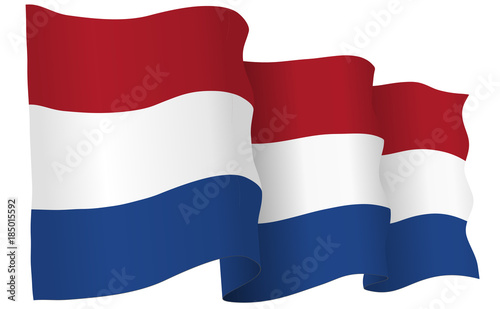 Fotobehang Rotterdam Holland Flag Waving Vector Illustration