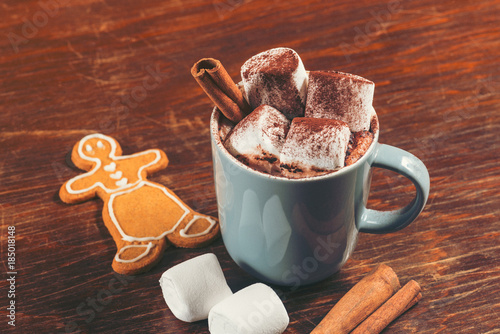 Deurstickers Chocolade Cup of Hot Chocolate with Marshmallows Topped with Cocoa Powder