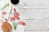 Salami, bread and wine - 185024514