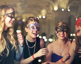 Group of masked girls laughing - 185031960