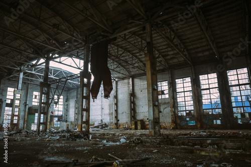 Fotobehang Oude verlaten gebouwen Abandoned ruined industrial factory building, ruins and demolition concept