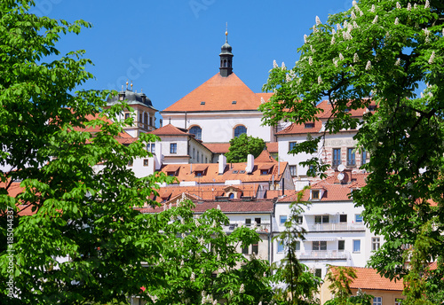 Poster Praag Prague Cityscape skyline on a sunny day in the Czech Republic.