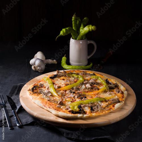 Aluminium Hot chili peppers fresh and tasty Peperoni Pizza