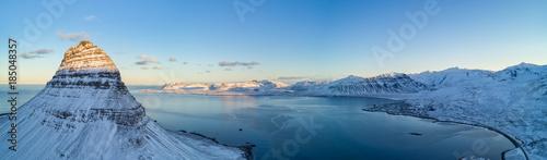 Foto auf Acrylglas See sonnenuntergang Aerial view of Kirkjufell mountain in winter, Iceland.
