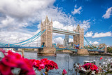 Tower Bridge with flowers in London, England, UK - 185050543