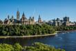 OTTAWA, ONTARIO / CANADA - JULY 29 2017: PARLIAMENT HILLS VIEW. OTTAWA RIVER.
