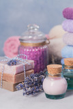 Natural cosmetic oil, cream, sea salt and natural handmade soap with lavender - 185056979