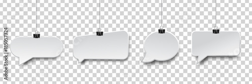 Vector collection of realistic isolated hanging speech bubbles on the transparent background.