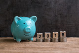 Year 2018 financial goal with piggy bank and stack of coins and on top by wooden cube block with number 2018 on table and dark black background with copy space - 185060752