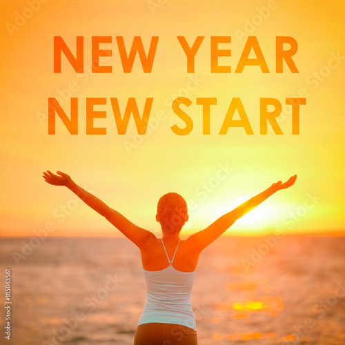 Aluminium Hoogte schaal NEW YEAR NEW START motivational message, inspirational quotes for the New Year resolution in fitness weight loss. Happy woman with arms up in success winning at the sky for new life challenge.
