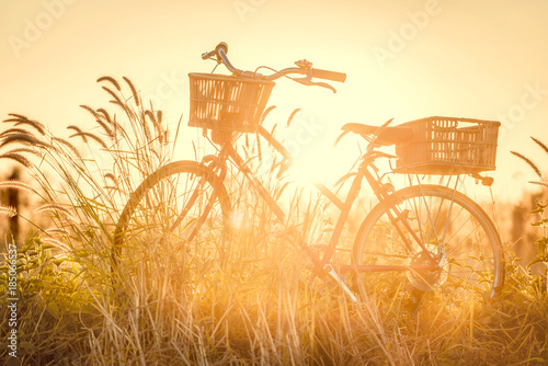 Staande foto Fiets beautiful landscape image with bicycle at sunset ; vintage filter style