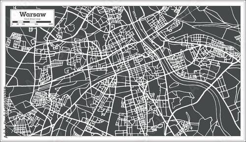 Warsaw Poland Map in Retro Style.