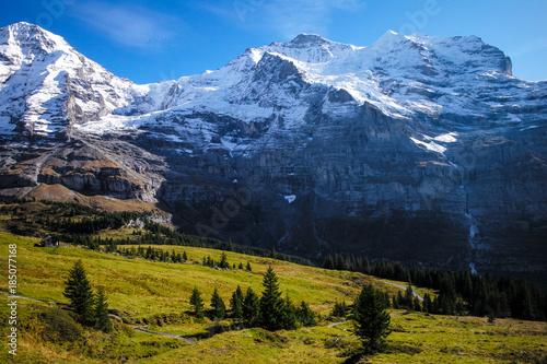 Fotobehang Nachtblauw Swiss Jungfrau Mountain