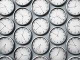 Modern wall clocks showing different time zones of world cities. 3D illustration - 185080785