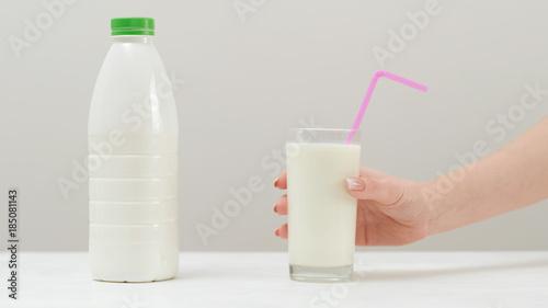 Foto op Canvas Milkshake Healthy milkshake beverage. Organic product. Delicious milk protein drink.