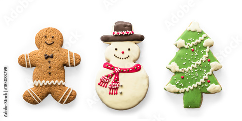 Christmas Cookies Snowman X Mas Tree Gingerbread Isolated On