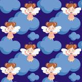 Seamless pattern with the image of a pretty little angel. Vector background.