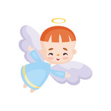 Colorful image of a pretty little angel. Vector illustration on a white background.