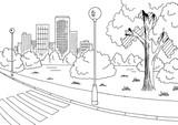 Street road graphic black white city landscape sketch illustration vector - 185087382