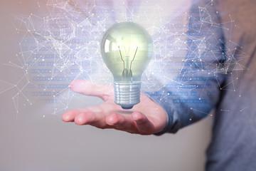 Human Hand Idea Bulb Bits Networks