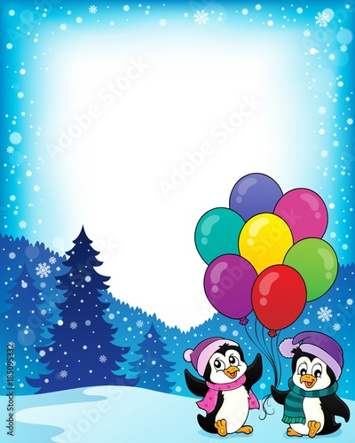 Fotobehang Voor kinderen Frame with happy party penguins 1