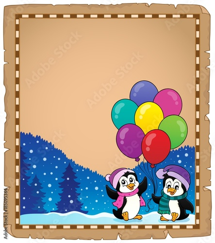 Fotobehang Voor kinderen Happy party penguins parchment 1