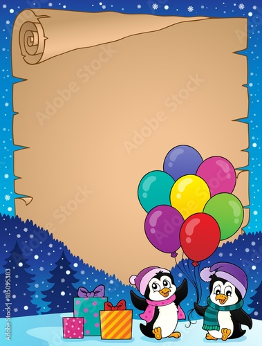 Fotobehang Voor kinderen Happy party penguins parchment 2