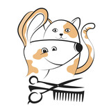 Grooming dogs and cats silhouettes - 185099775