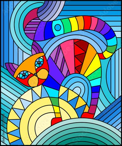 ilustracja-w-witrazu-stylu-z-abstrakcjonistycznym-geometrycznym-kotem
