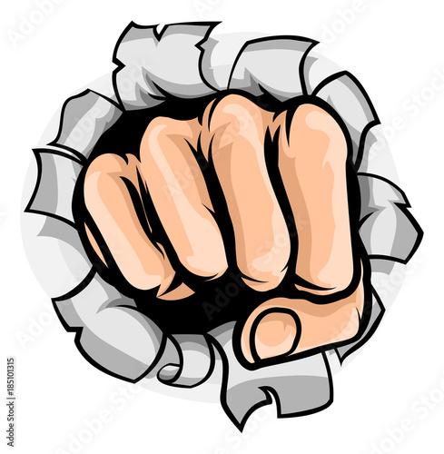 Fotobehang Pop Art Fist Punching Hole