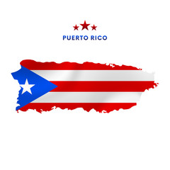 Puerto Rico map with waving flag. Vector illustration.