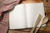 Blank recipe book on wooden table. - 185108791