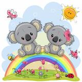 Two Koalas are sitting on the rainbow