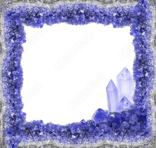 blue sapphire druse frame with large crysrals