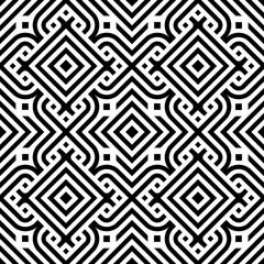 Black line geometric diamond abstract seamless pattern vector background