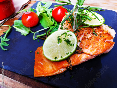 Poster french cuisine dish with tomato and salmon