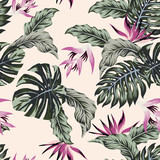Exotic flowers tropical leaves green seamless light pink background - 185138116