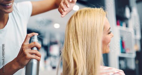 Deurstickers Kapsalon Portrait of a woman at the hair salon