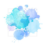 artistic backdrop with square shape frame, vector with hand drawn watercolor look blots, watercolor look background with colorful painted stains in splash shape - 185159160
