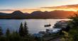The late evening sun sets over Ketchikan, Alaska