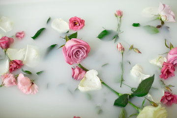 Milk in bath with roses