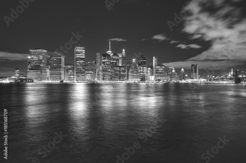 Foto op Aluminium New York Black and white Manhattan panorama at night, New York City, USA.