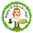 Happy St. Patrick's Day - card, waitress holding beer