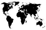 black world map, isolated